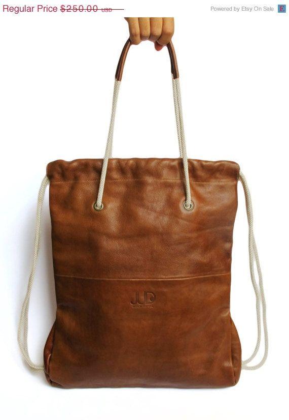 9adf9de469 Camel brown leather backpack tote - multi way back bag - sack bag ...