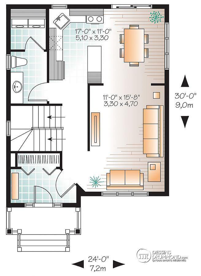 824 - Le Chaï Bi-génération   Inter-génération Logements multiples - plan maison avec cotation