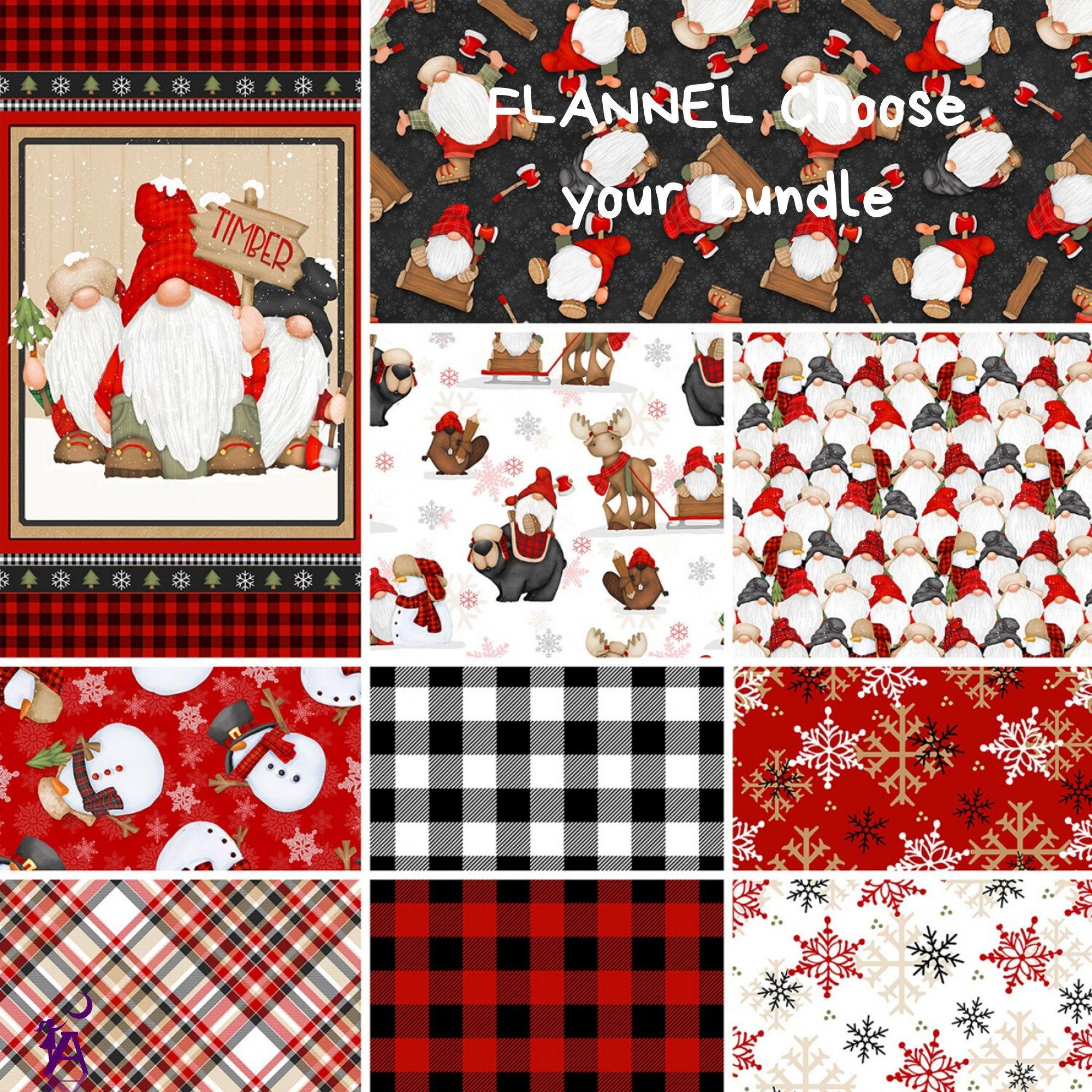 FLANNEL Gnomies Christmas Fabric Bundled FLANNEL fabric