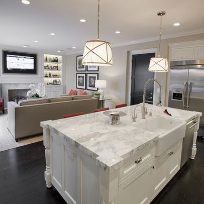 Sink facing out into family room layout design ideas for Small room next to kitchen