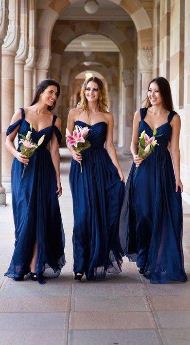 67184f1e4b04b Elegant Long A-line Chiffon Dark-Navy Summer Bridesmaid Dresses ...