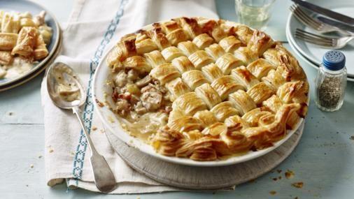 Chicken and bacon lattice pie recipe family meals shallow and pie bbc food chicken and bacon lattice pie forumfinder Gallery