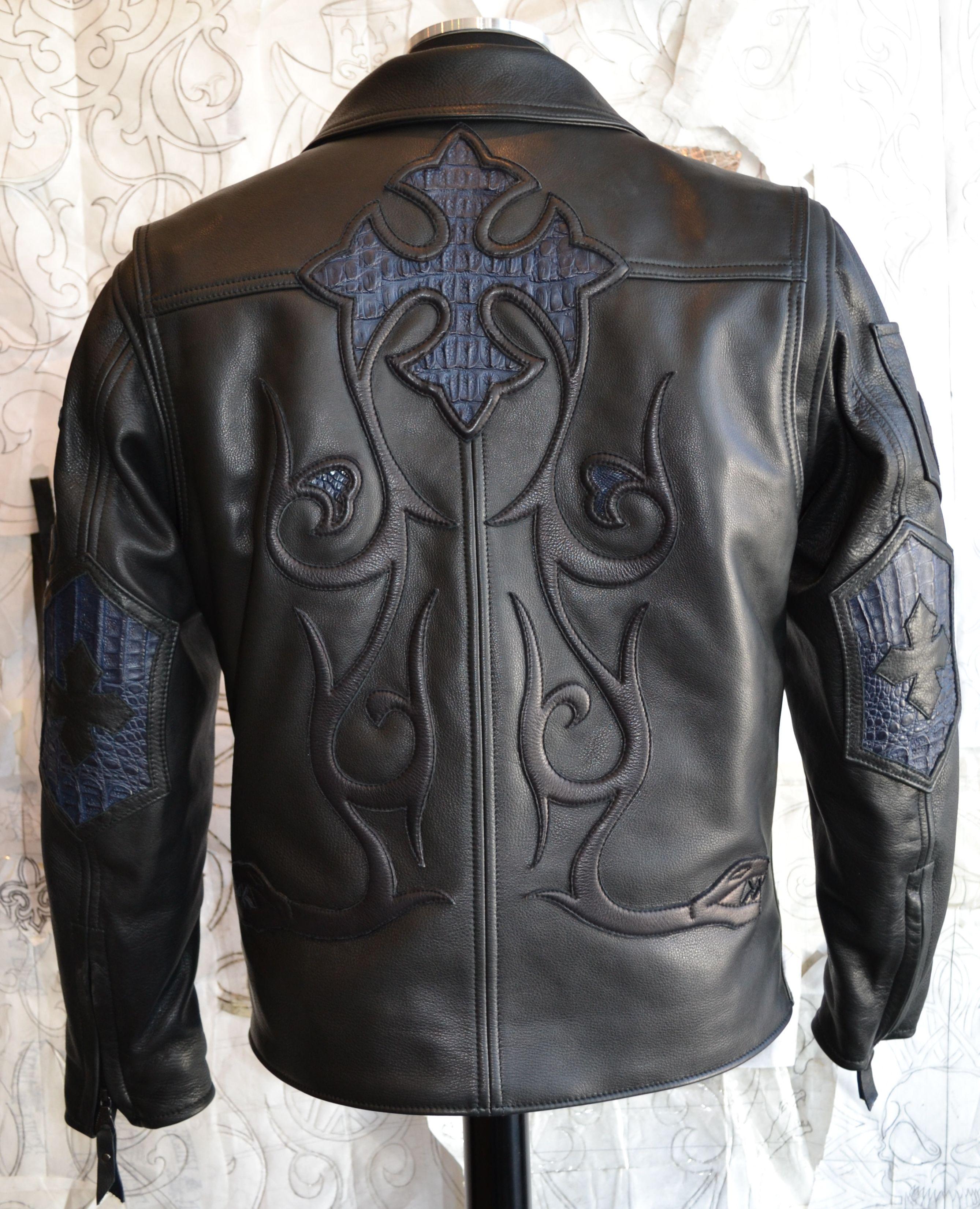 Logan Riese Rider jacket Leather with Dark blue Crocodile.