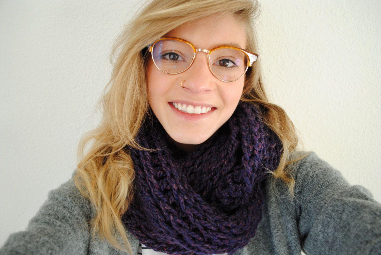 Crochet Chunky Infinity Scarf - Purple by CrochetsWithCats on Etsy