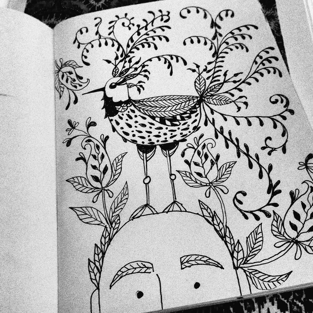 Embedded image permalink part of a series 'Free the birds inside your head' doodles by Suzanne Carpenter