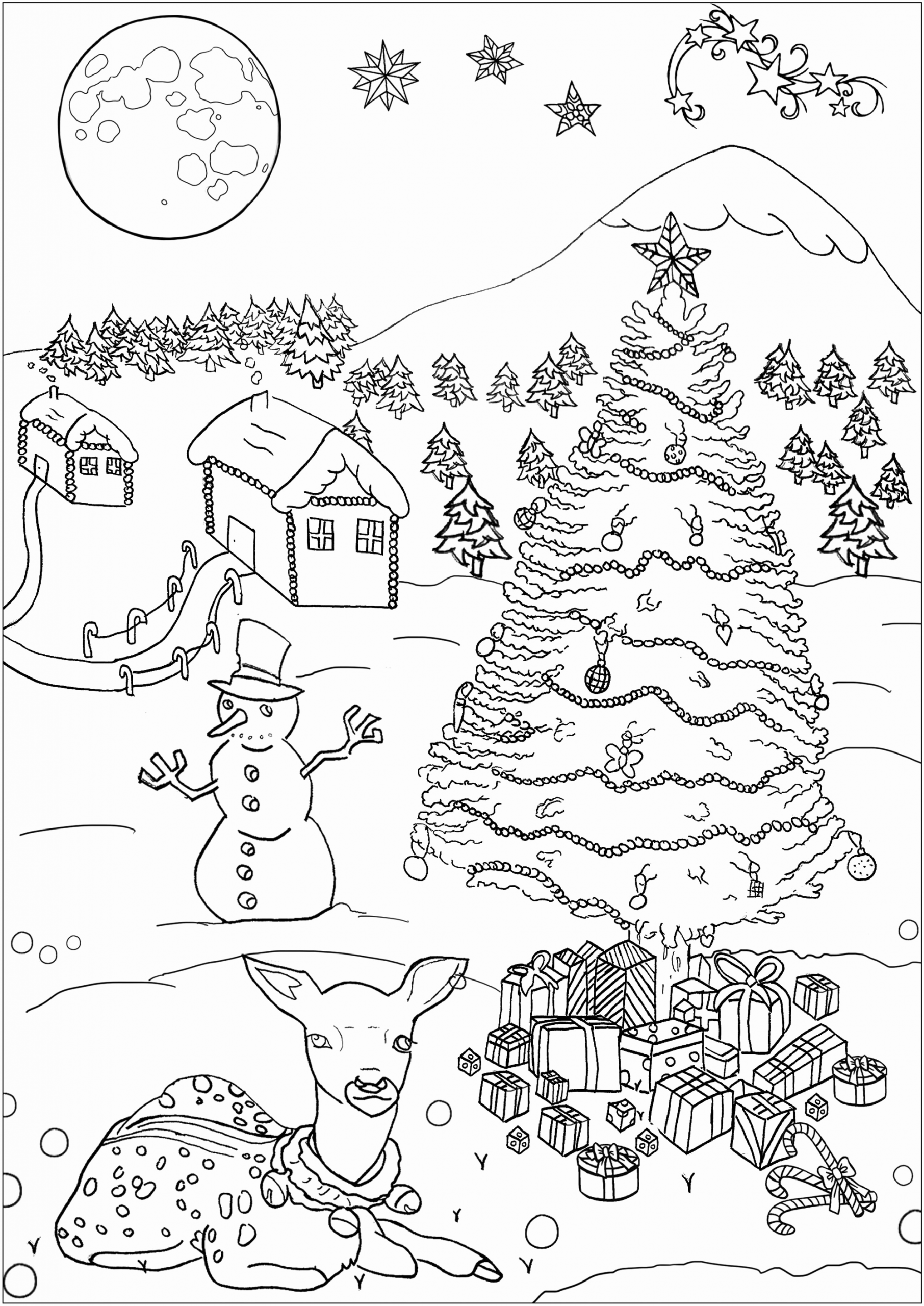 Detailed Christmas Coloring Pages Kids In 2020 Christmas Coloring Pages Free Christmas Coloring Pages Merry Christmas Coloring Pages