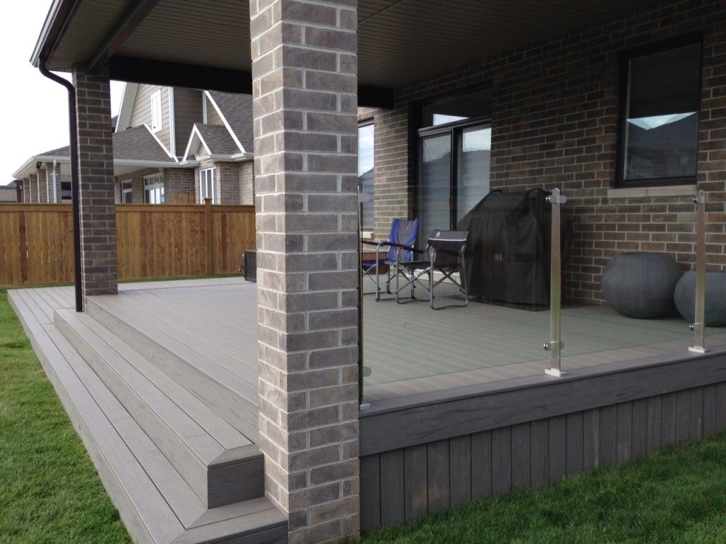 Glass railings for decks - Silver Maple Timber Tech Deck With Glass Railings And Stainless Steel Posts