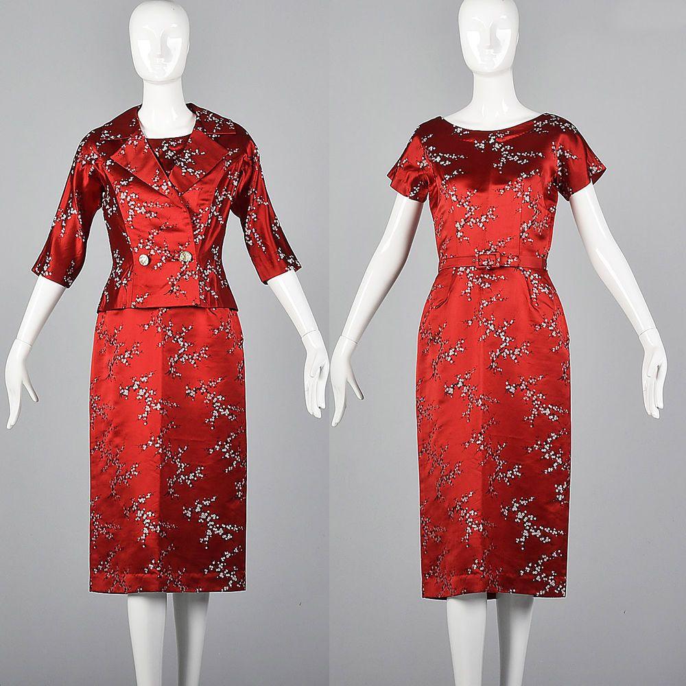 Image result for RED FLORAL BROCADE DRESS