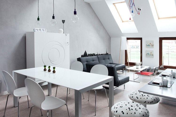 Zona living moderna e luminosa - #Attic Space by KASIA ORWAT home ...