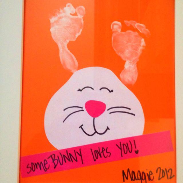 Easter bunny footprint craft