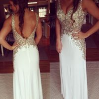 2014 Chiffon Sequined Beaded White Straight Long Evening Dress V Neck Low Back…