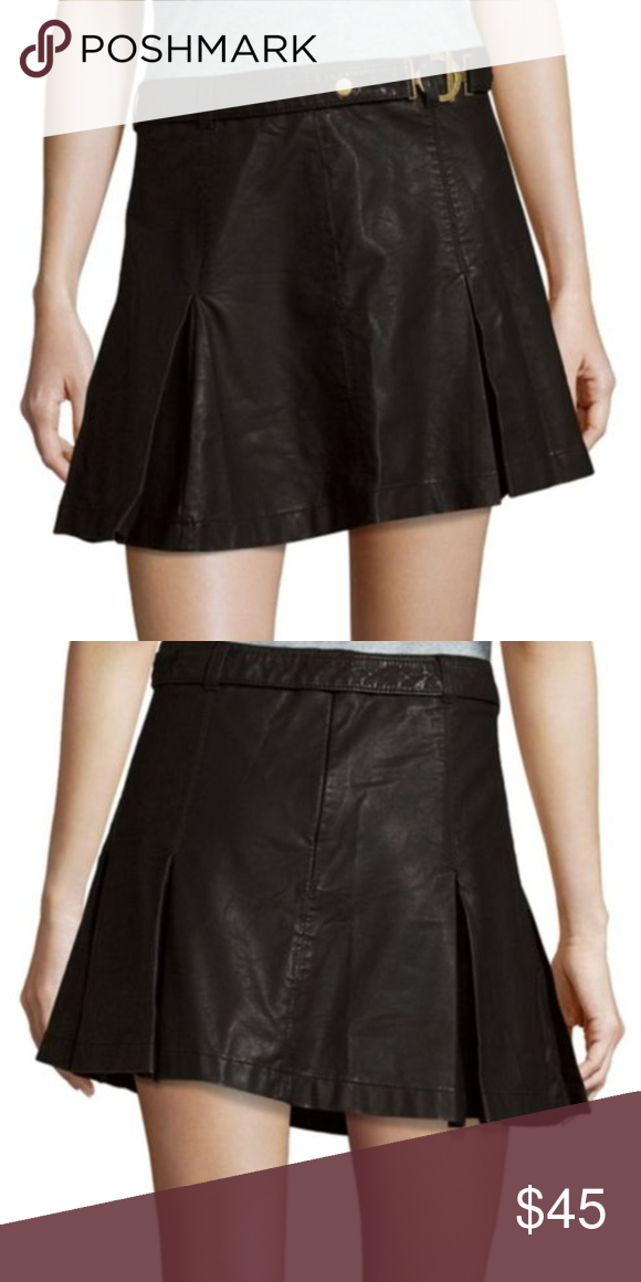 978a3d8d7b7d Free people pleated mini skirt leather 4 FP faux leather mini skirt w pleats  and belt size 4 Free People Skirts Mini