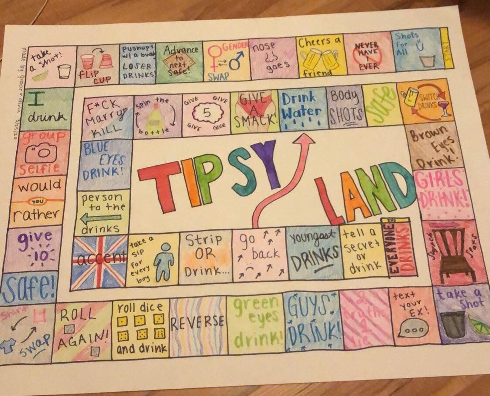 A G O Tipsy Land Etsy Diy Party Games Girls Night Drinking Games Sleepover Party Games