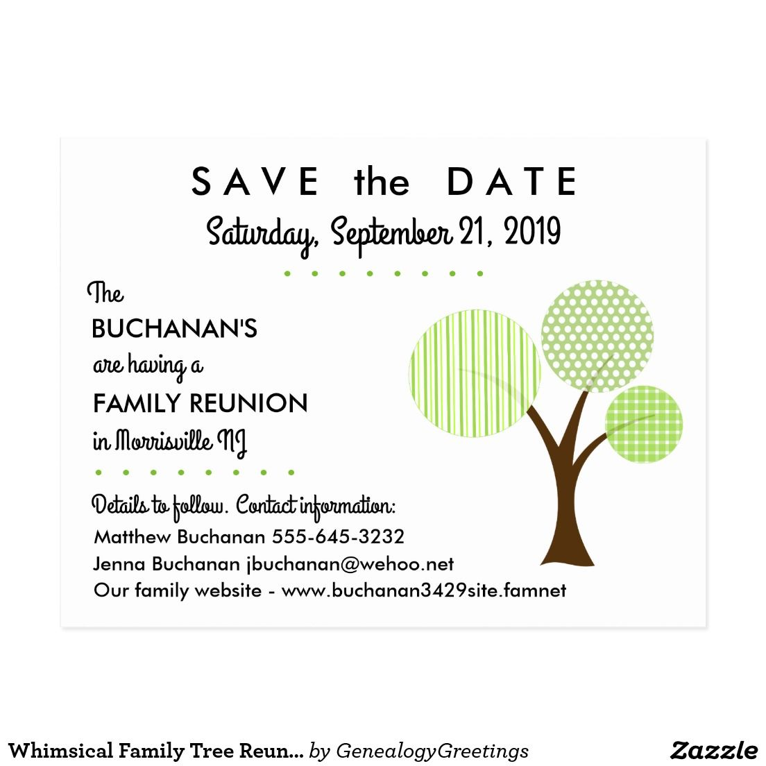 5561b57e8 Whimsical Family Tree Reunion Save the Date Postcard Our whimsical family  tree is adorned with green stripes, plaids and dots. A fun save the date  postcard ...