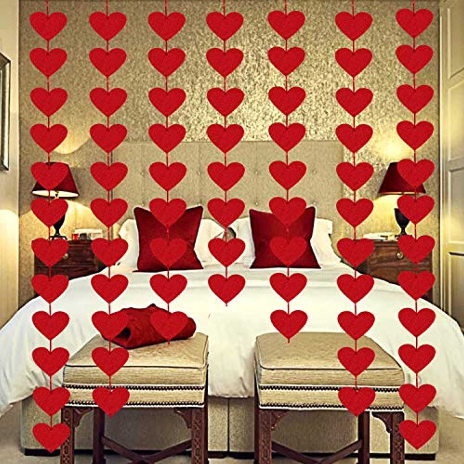 Perfect Valentine's Day Decorations - Our felt heart hanging garlands will be perfect choice to decorate your home, office room, bedroom
