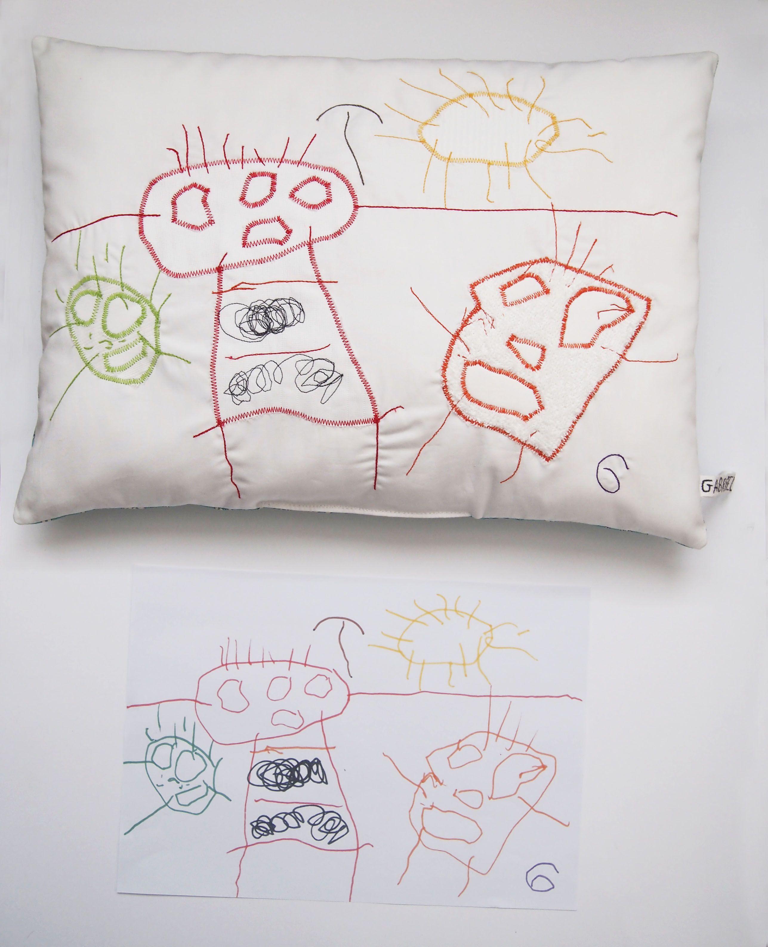 cration textile zut pice unique dessin de gabriel 3 ans pour l anniversaire de - Anniversaire Mamie 2