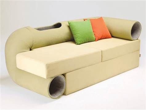 Cat Tunnel Sofa. click through to read all about it