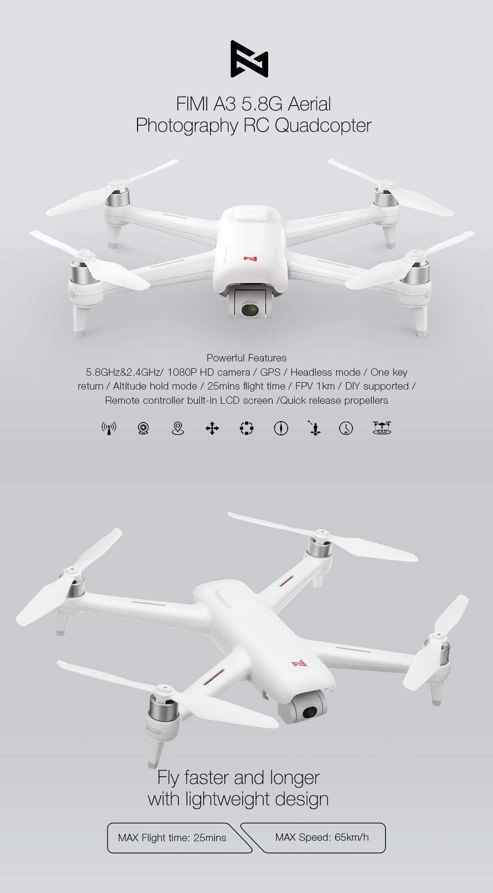 Xiaomi FIMI A3 5 8G 1KM FPV With 2-axis Gimbal 1080P Camera