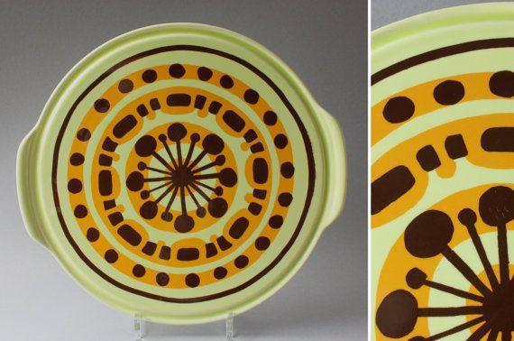 Alte Kuchenplatte Tortenplatte Keramik Vintage Pizzateller Grosser Teller Grun Braun Punkte Germany 60er 70er Geschenk Mid Century