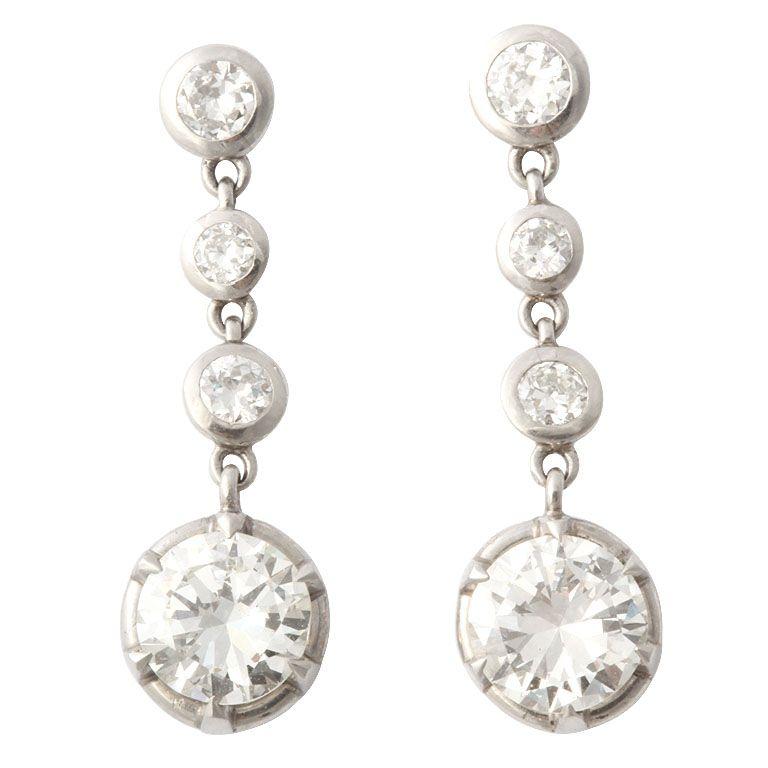 Platinum Round Diamond Drop Earrings Circa 1930 S