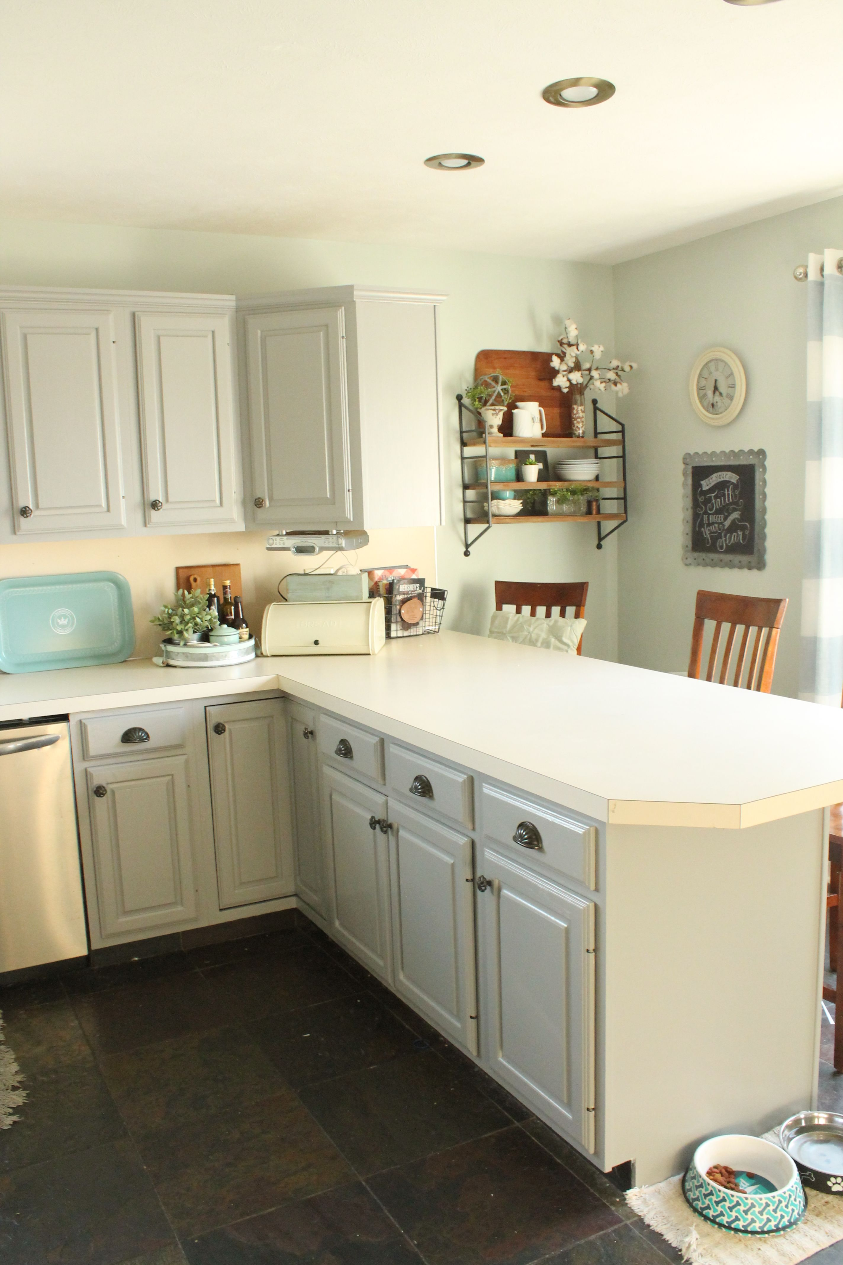 Kitchen upgrade with paint. Pewter cast cabinets by Sherwin WIlliams ...