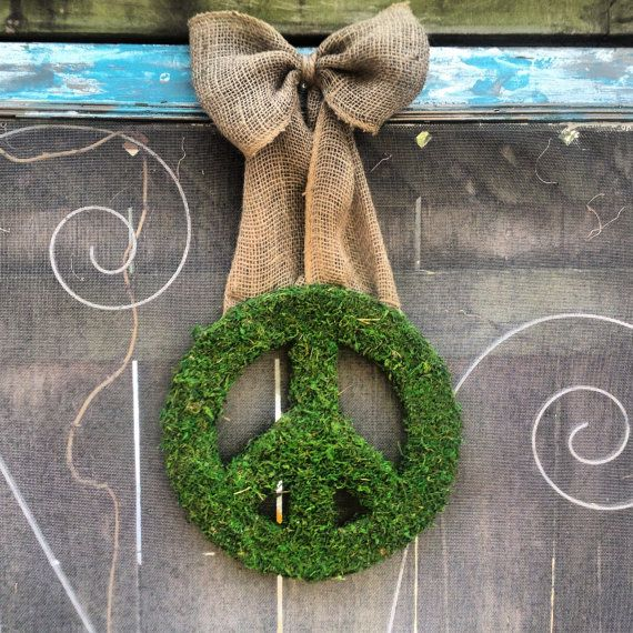 Moss covered peace sign wreath by CLMahler on Etsy, $37.00