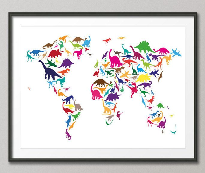 Combining two of my favorite things travelmaps and dinosaurs dinosaur map of the world map digital art by michael tompsett dinosaur map of the world map fine art prints and posters for sale gumiabroncs Image collections