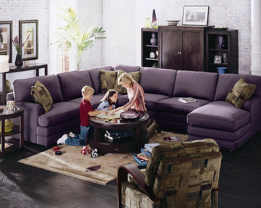 Confortable Purple 5 Piece Lazy Boy Sectional Sofa With Corner