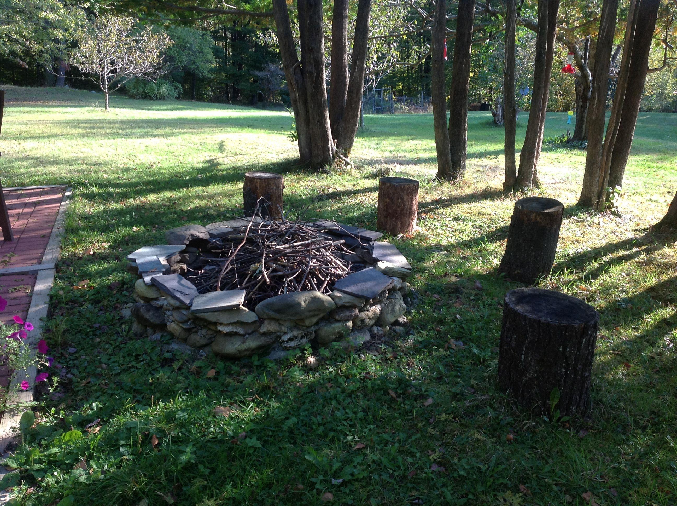 Tree Stump Seats Outdoor Stone Fireplace With Tree Stump Seats M J Vt House