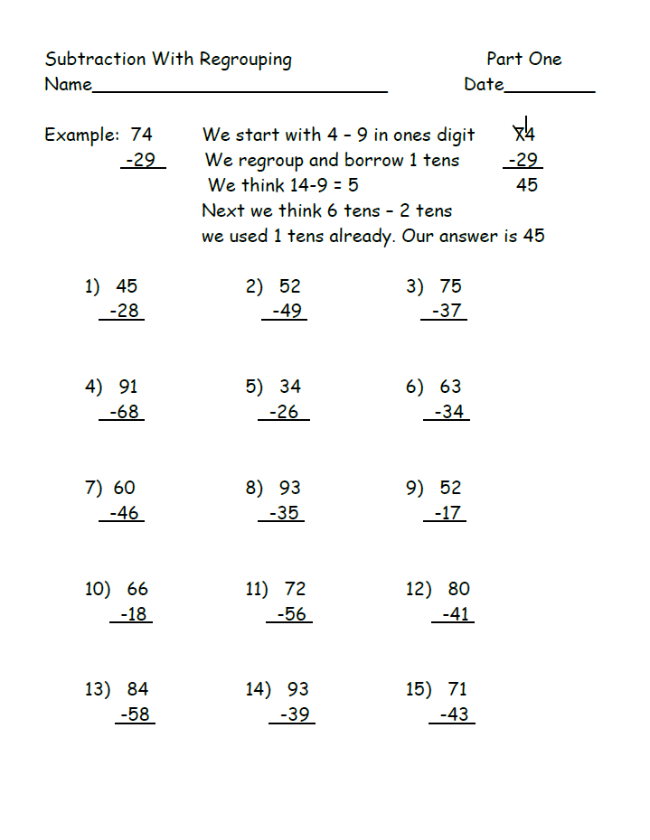 Two Free Worksheets Teaching Subtraction With Regrouping