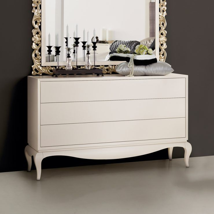 Modern White Dresser Mirror With 3 Drawer