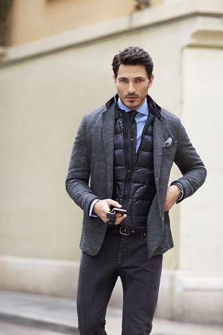 04a16d005 Men's Black Quilted Gilet, Charcoal Wool Blazer, Light Blue Dress ...