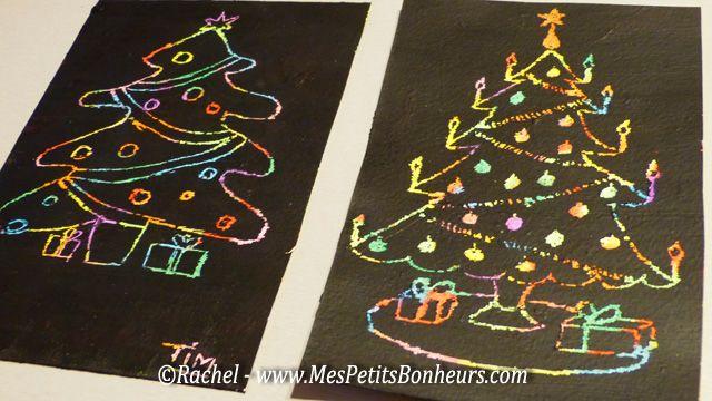 Dessins Sapins De Noel Sur Carte A Gratter Maison Kerst