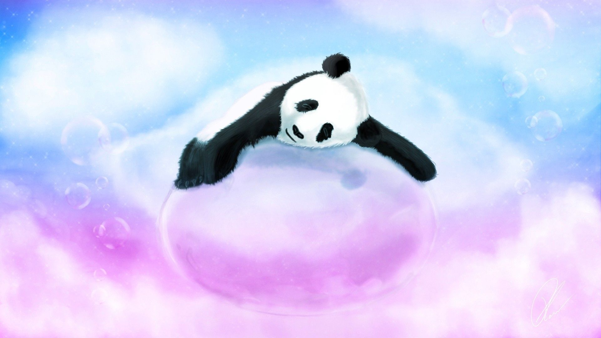 Panda bear art children kids cute wallpaper 1920x1080