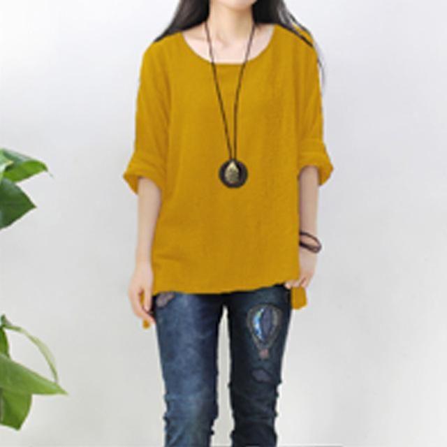 e53b0e178db Women Round Neck Long Sleeve Loose Top Cotton Linen Blouse Oversized ...