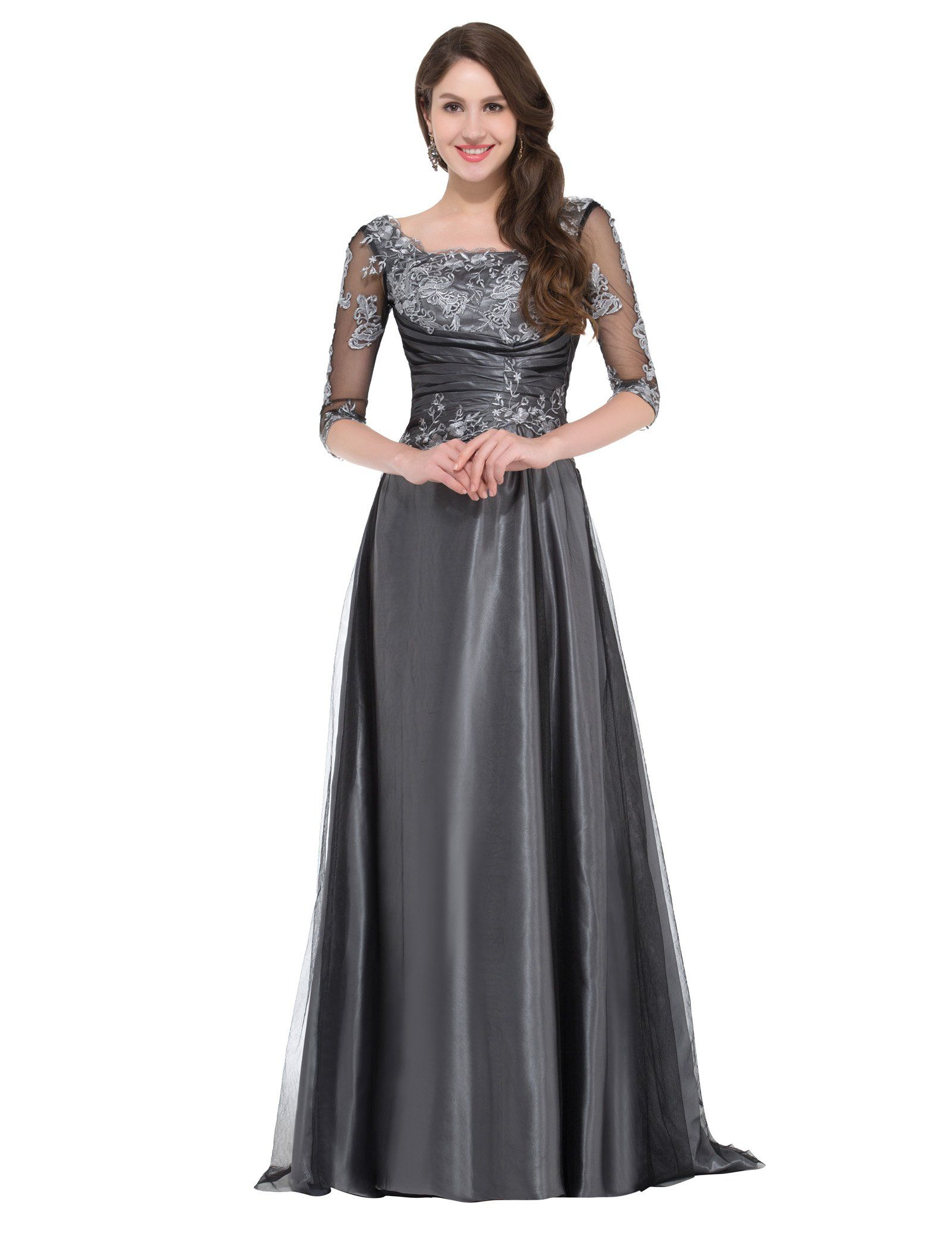 Dark Grey V Back Evening Ball Gowns Floor Length up to size UK 18 ...