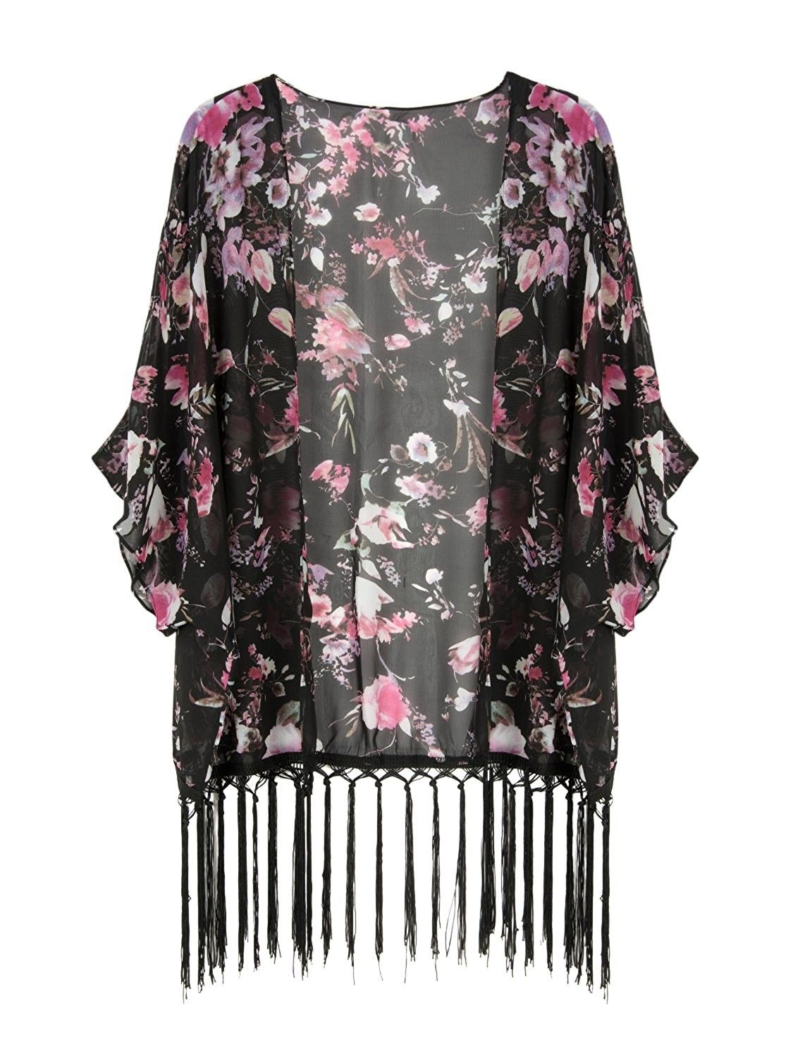 Sleeved Tribal Chiffon Loose Kimono Cardigan Swimsuit Cover Up for Women