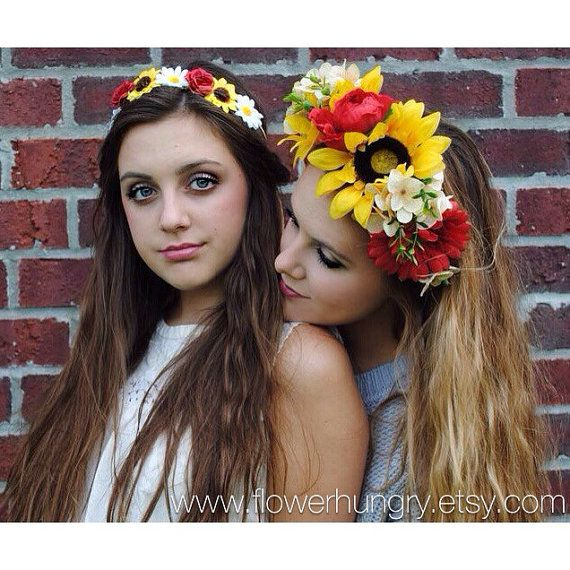 The Pizza Mixed Flowers Flower Crown. Pick the size of your slice! Festival Wear by FlowerHungry