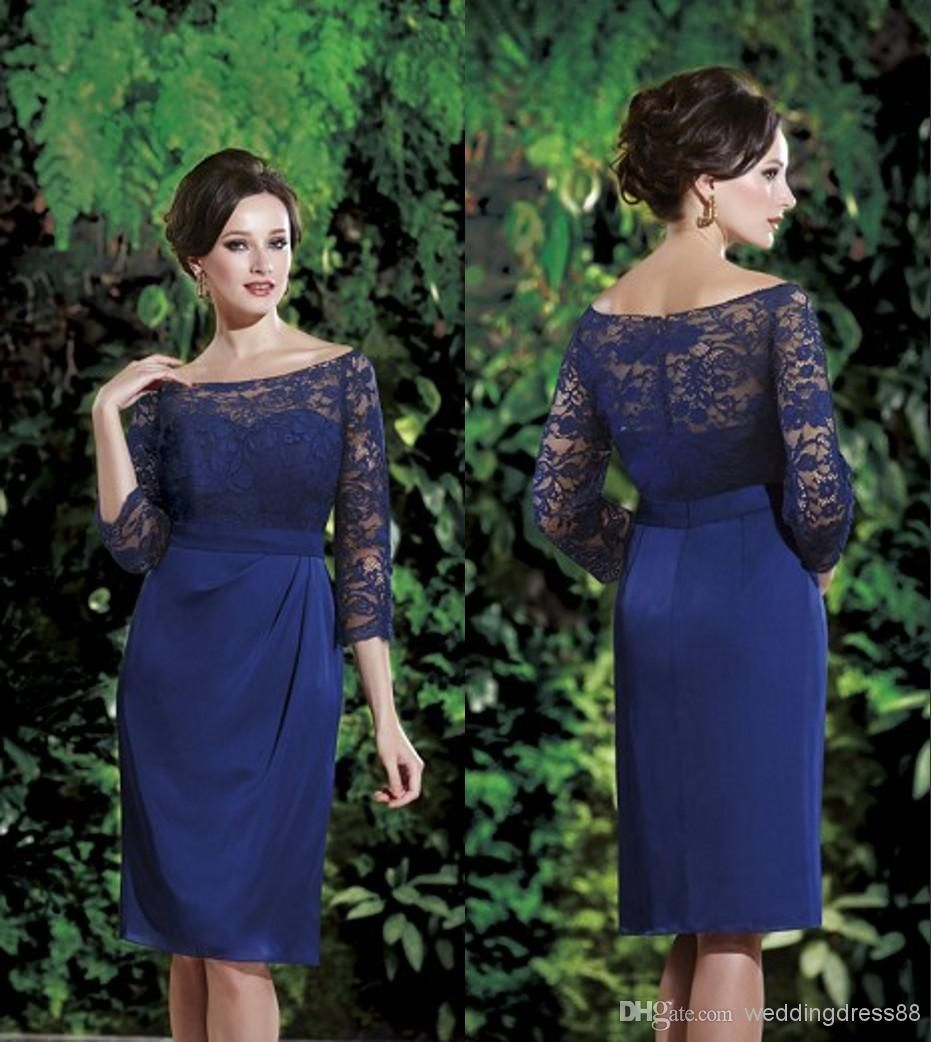 Casual mother of the groom dresses for outdoor wedding   New Simple Lace Bateau  Long Sleeve Sheath Knee Length