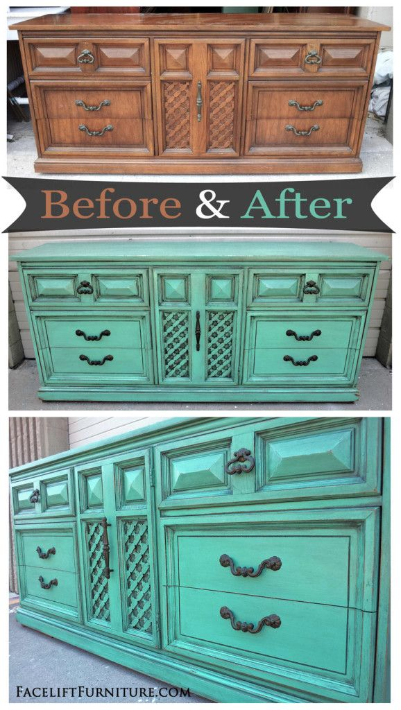 Jade Vintage Dixie Dresser With Black Glaze   Before And After From  Facelift Furniture