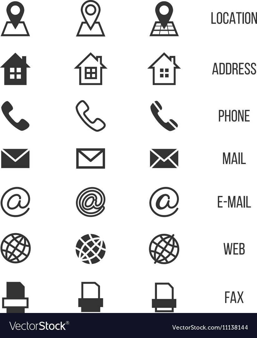 Business Card Vector Icons Home And Phone Address And Telephone Fax And Web Location Symbols Contact O Business Card Icons Email Icon Vector Business Card