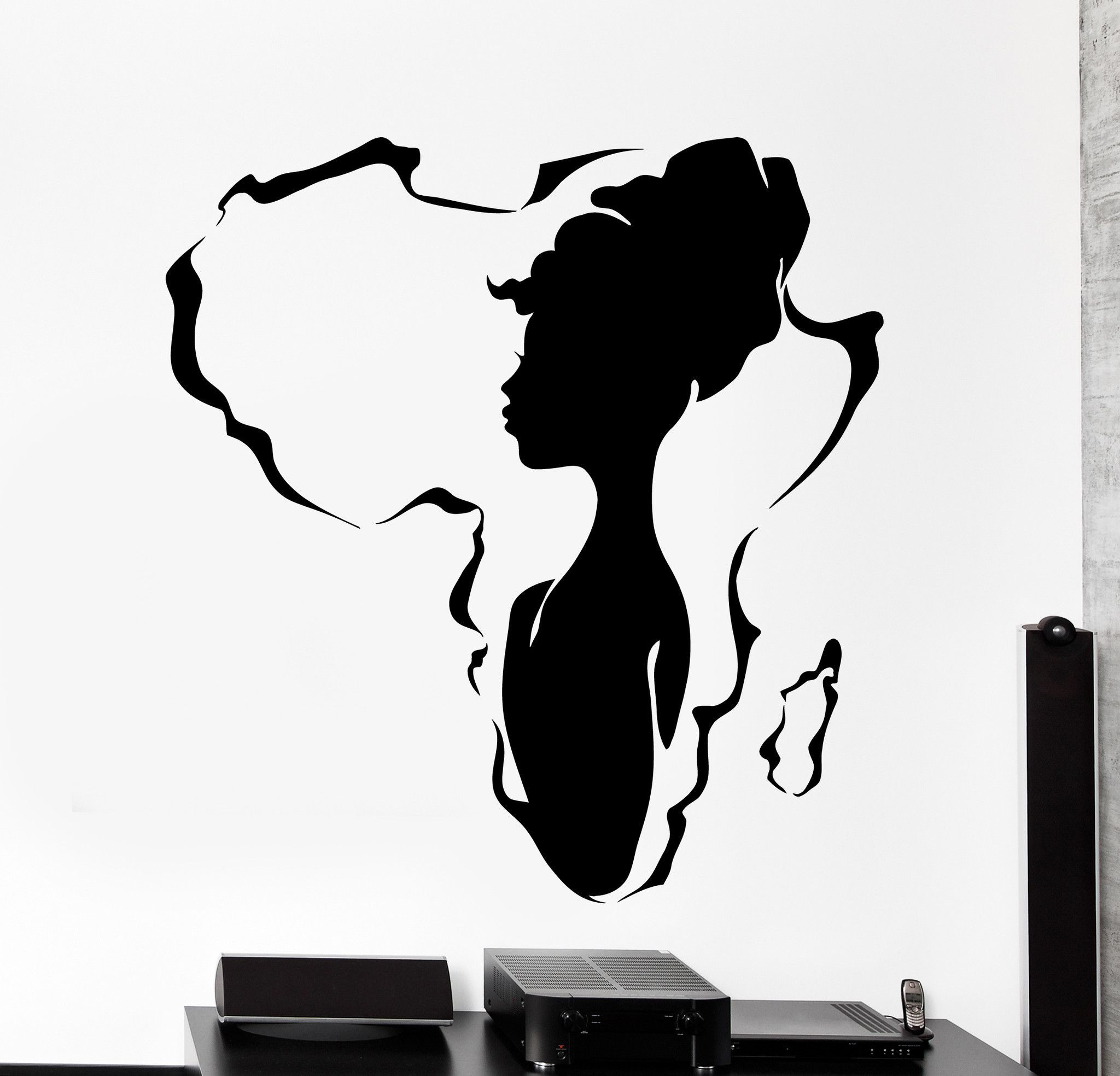 Vinyl wall decal african africa beauty black hot woman girl home