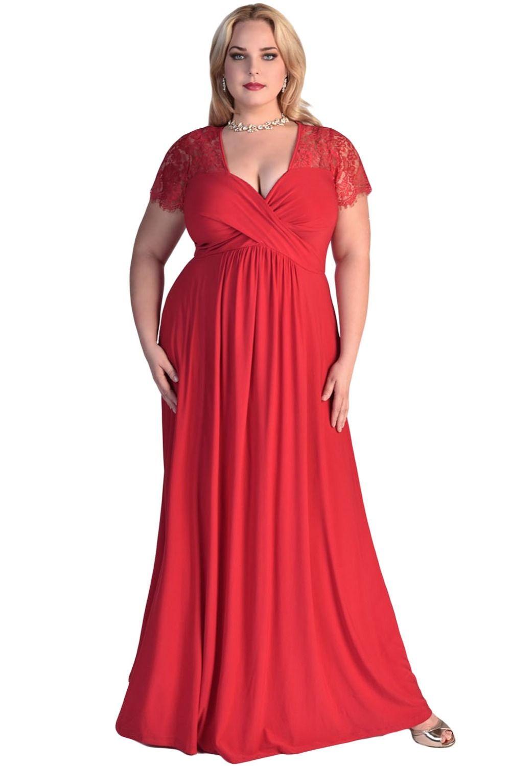 Robe longue femme red lace yoke twist high waist short sleeve long