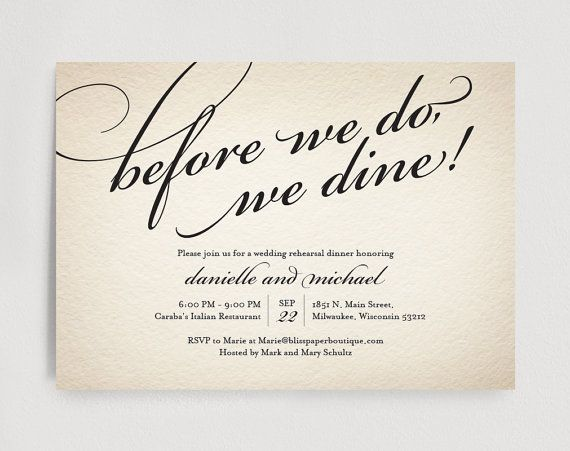Pre Wedding Dinner Invitation: Wedding Rehearsal Dinner Invitation Editable Template
