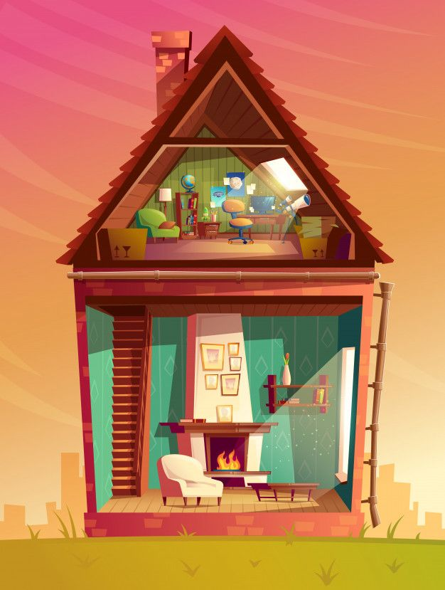 Download House Interior Cross Section Cartoon Children Playroom At Attic With Furniture For Free House Interior Cartoon House Inside A House