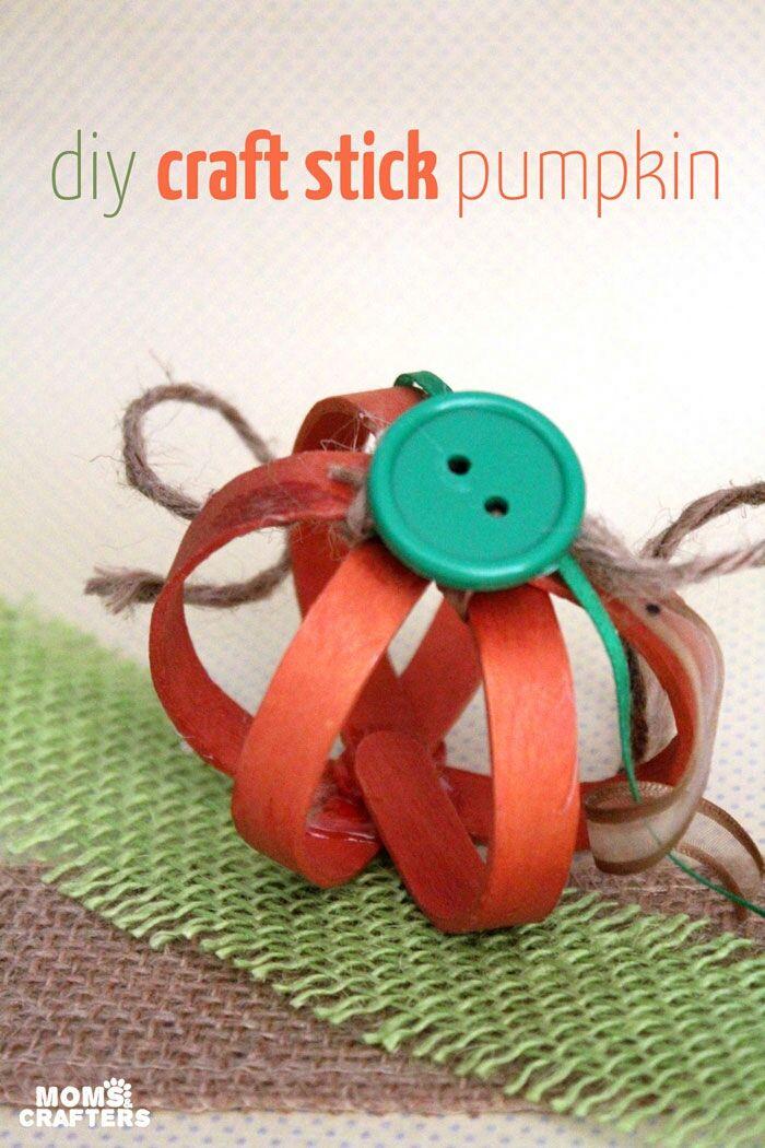 Make a 3D pumpkin Craft sticks - how to make homemade halloween decorations for kids