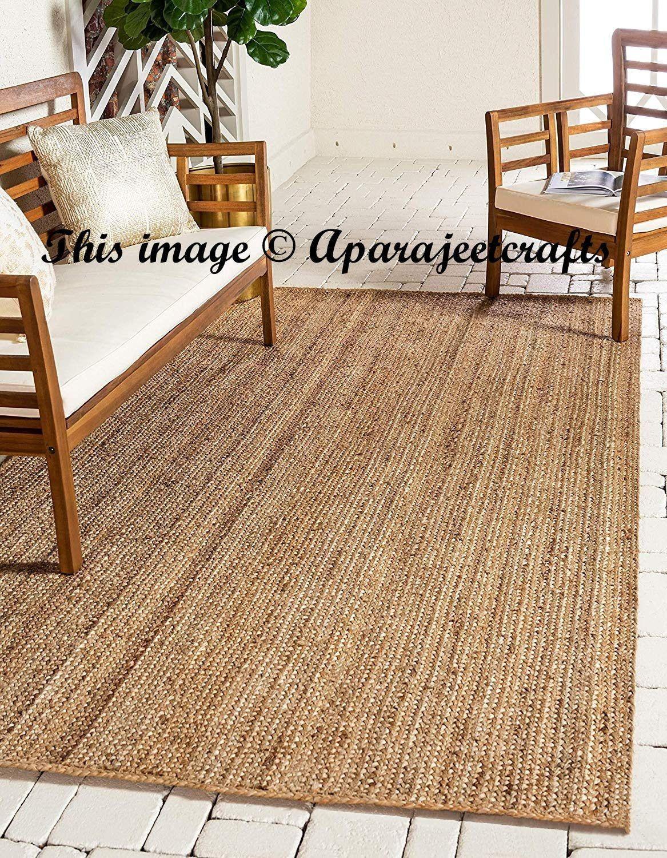 Indian Braided Floor Rug Handmade Jute Rug Natural Jute Rectangle Rug Indian Handmade Handwoven Ribbed Solid Area Jute Floor Rugs Natural Jute Rug Floor Rugs