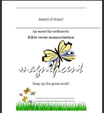 Sunday School Certificate - Bible Verse Memorized Sunday School - army certificate of appreciation template