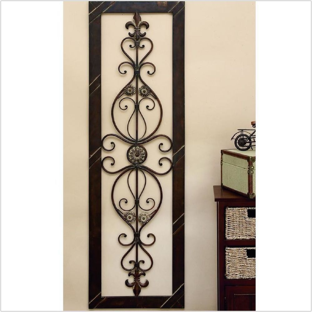 Tuscan Long Rectangle Wrought Iron Wall Grille Plaque Scroll Metal