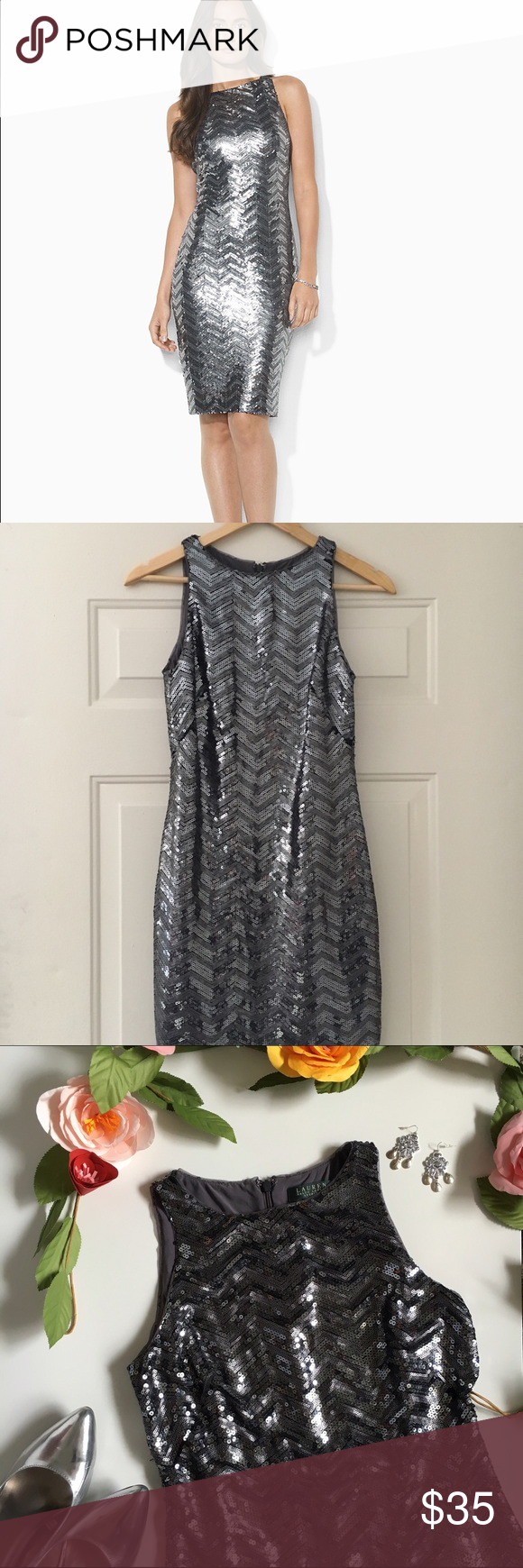 Ralph Lauren Evening Sequin Dress Gorgeous all-over sequin dress by Ralph Lauren. Features a subtle chevron pattern. Hidden back zipper. There are some loose sequins on the side of the dress near the seams, as pictured. The list price reflects this. No other flaws noted, excellent used condition. Ralph Lauren Dresses Midi